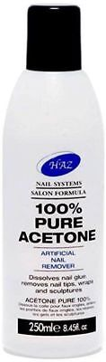 HAZ 100% Pure Acetone Nail Polish Remover Glue Tips Wraps 150ml 250ml 500ml