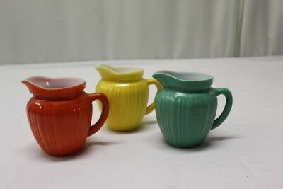 Set of 3 Vintage Ribbed Handle Mini Creamer Pitchers Red, Yellow & Teal