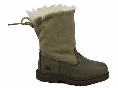 Kids Caterpillar Bruiser Scrunch Leather Faux Fur Winter Ankle Boots Sizes 10-1