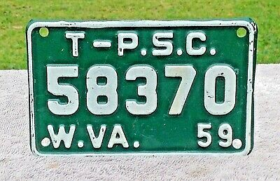 1959 West Virginia TRUCK Public Service Comm. License Plate TAX Tag # 58370 MACK