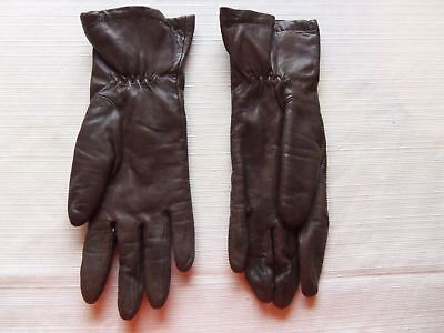 Vintage GranDoe Brown Leather Fur Lined GLoves M Medium