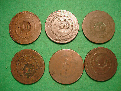 Nice collection of 6 large early 19th century coins from Brazil  FREEPOST[JU-83]