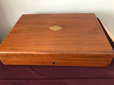 Early Oak Cutlery Box With Brass Inlay On The Lid