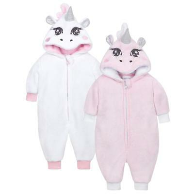 Baby GIRLS UNICORN Romper/Play/all in One-SOFT-PINK or WHITE-SUPER CUTE-NEW