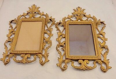 """Antique Victorian Metal ROCOCO PICTURE FRAME Scroll Matching Pair Brass Gilt 12"""""""