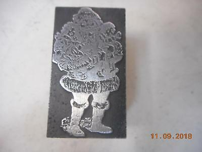 Printing Letterpress Printer Block Christmas Vintage Santa Claus Printer Cut