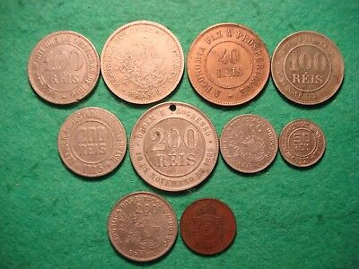 Nice group of 10 late 19th early 20th century coins from Brazil  FREEPOST[D-70]