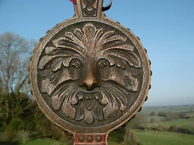 SUPERB Pr 19thc GOTHIC OAK CARVED GREEN MAN HEARTH SIDE BELLOWS