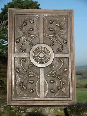 SUPERB 19thc GEOMETRIC PANEL CARVED ROUNDEL & CORNOCOPIAS WITH PEARS (2)