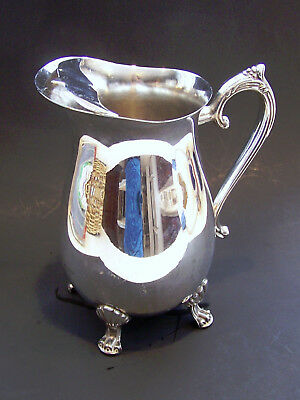 Handcrafted Silver Plated 4 Footed Guard Lip Ornate Water Beverage Pitcher EUC