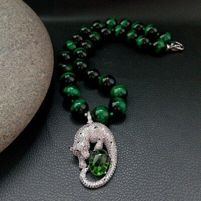 "18"" Round Green Tigers Eye Necklace CZ Pendant"