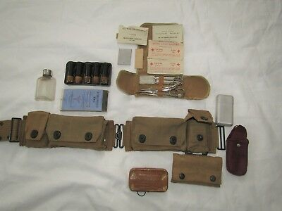 Original 1917 U.S. Army Mills Medical Belt with Pouches and Supplies