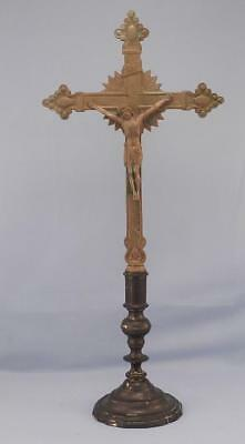 """Antique 19.5"""" Tall French Bronze~Brass Church Altar Cross~Crucifix with Jesus"""