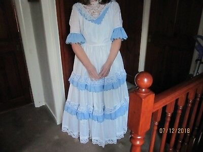 ANNA from FROZEN could be a Blue & White Lace and Crinoline Period Fancy Dress