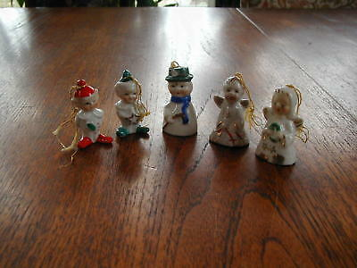 Vintage Miniature Figural Christmas Tree Ornaments Bells Angels Elves Snowman