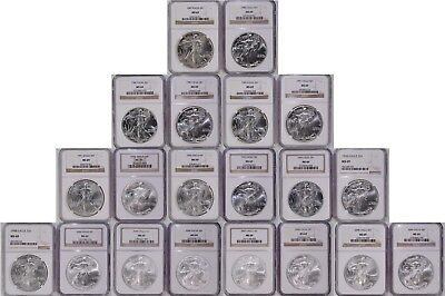 20 Coin 1987-2009 Silver Eagle $1 Lot NGC MS 69 Brown Labels 1 oz 999 Fine 20pc