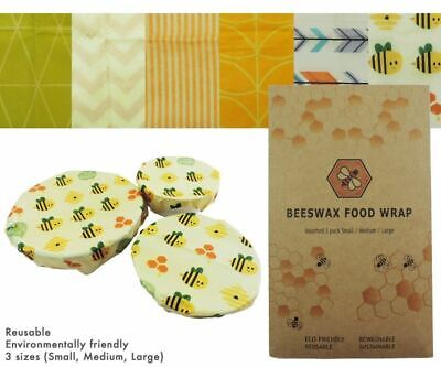 New 3 x Beeswax Food Wraps Small/Medium/Large 6 Designs Reusable Eco Friendly