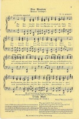 "BOSTON COLLEGE Vintage Song Sheet c1931 ""For Boston"""