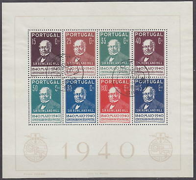 PORTUGAL - 1940 SHEET 100 YEAR STAMP ROWLAND HILL Mi.: Block 3 - used - 300 EUR