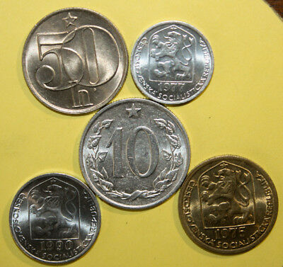 Czechoslovakia - Group of 5 Coins - Uncirculated and B. Unc. Coins -See Pictures