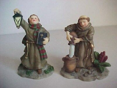 O'WELL Christmas Village accessory MONK priest Church people Figurine SET