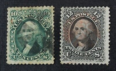 CKStamps: US Stamps Collection Scott#68 69 Washington Used Tiny Tear