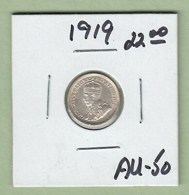 1919 Canadian 5 Cents Silver Coin - AU-50