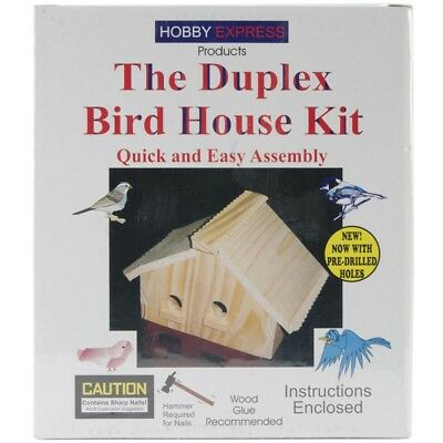 Pinepro Unfinished Wooden Bird House Kit, Duplex - Wood Kit