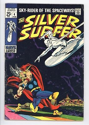 Silver Surfer #4 Vol 1 Very Nice Lower Grade Classic Thor vs Surfer Cover