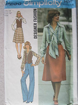 7296 VINTAGE Simplicity Sewing Pattern Misses Blouse Vest Skirt Pants Bias Scarf