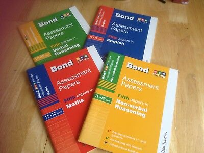 4 Bond 11+ 12+ Assessment Papers English Maths Verbal Non Verbal Fifth Papers