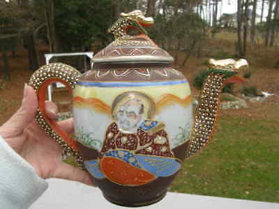 Vintage Japanese Satsuma Moriage Woman Man Dragon Tea pot