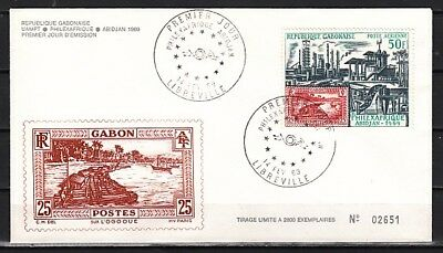 Gabon, Scott cat. C82. Stamp Expo, stamp on Sramp issue. First Day Cover