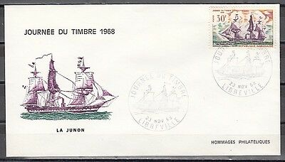 Gabon, Scott cat. 234. Stamp day-Tall Ships issue. First day cover