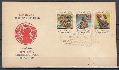 Persia, Scott cat. 1920-1922. Children`s Week, Flowers & B/fly First day cover