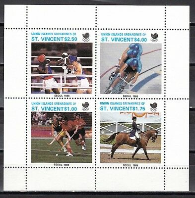 St. Vincent, Union Is 1988 issue. Seoul Olympics on a sheet of 4