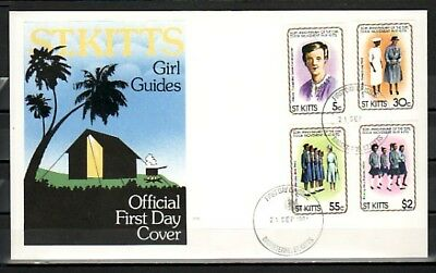 St. Kitts, Scott cat. 82-85. 50th Anniversary of Girl Guides. First day cover