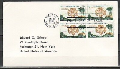 Canal Zone, Scott cat. 156. USA Girl Scout Anniv. Blk/4. Plain First day cover