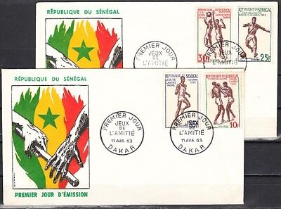 Senegal, Scott cat. 212, 215-217. Sports as Soccer & B/Ball. 2 First day covers