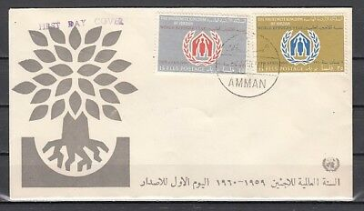 Jordan, Scott cat. 369-370. World Refugee Year issue. First day cover
