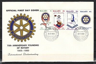 Malawi, Scott cat. 362-365. Rotary International, 75th Anniv. First day cover