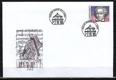 Slovakia, Scott cat. 427. Composer Beethoven issue on a First day cover