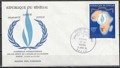 Senegal, Scott cat. 418. Human Rights Conference issue. First day cover