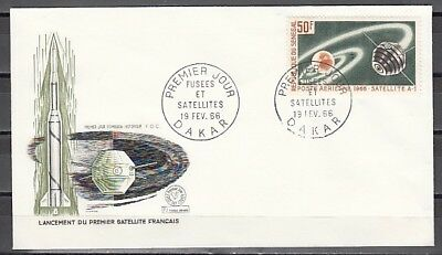 Senegal, Scott cat. C43. French A-1 Space Satellite issue. First day cover