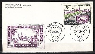 Senegal, Scott cat. C68. Stamp on stamp, Philexafrique. First day cover