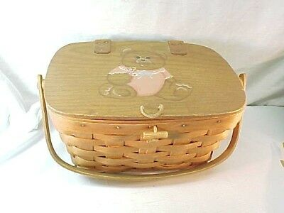 1988 Longaberger Gathering Basket? With Teddy Bear Painted On Lid