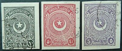 Turkey 1923-25 Lot Of 3 Imperf Stamps Upto 5 Piastres - Fine Used - See!