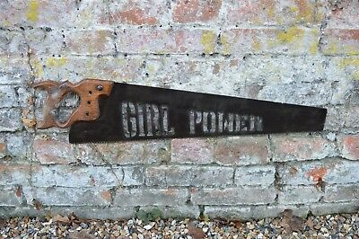 old antique vintage saw  metal plasma cutout girl power , industrial sign