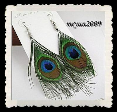 Earrings HOT feather Dazzling FREE Charm 2PCS Beautiful Peacock Fashion 15MM