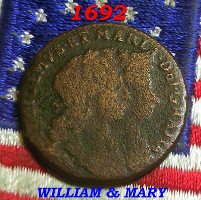 1692 WILLIAM MARY IRISH Colonial Half penny Days Of Old nota Token SCARCE! COIN